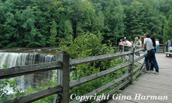 Visitors to the Tahquamenon Falls State Park of Michigan