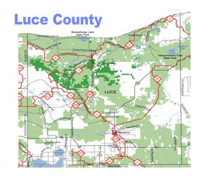 Luce County Snowmobiling Map, Newberry Snowmobiling Maps, Snowmobiling Maps
